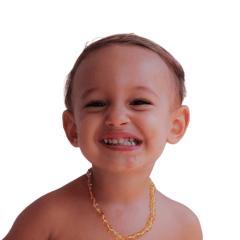 Colar de âmbar para criança verdadeiro Mel 38cm