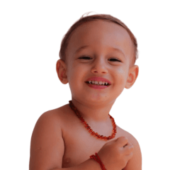 Colar de âmbar Báltico para bebês Cognac